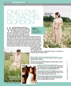 One Love Design and Bridsong Design included in the Charleston Weddings Spring 2015 issue, giving a preview of what to expect on the Charleston Fashion Week Runway